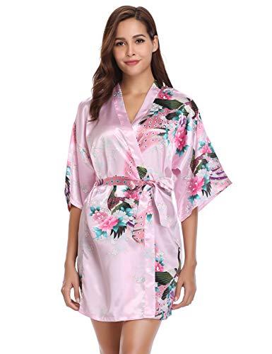 Vlazom Kimono Mujer Suave y Ligero, Bata Japones Satén Corto con Estampado Flores Muy Moda para Mujer