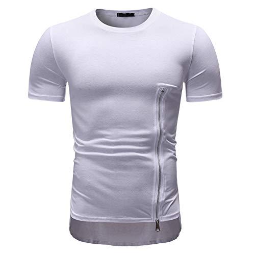 Deportiva Camisa Hombre Verano Moda Cuello Redondo Slim Fit Hombre Compresión Shirt Empalme Funcional Shirt Cremallera Correr Shirt Casual Wicking Transpirable Shirt D-White2 XXL