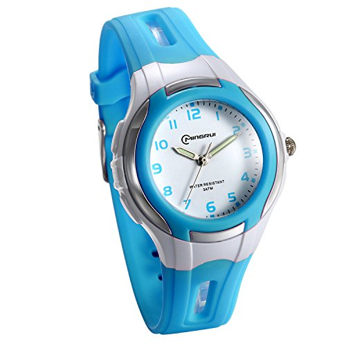 JewelryWe Girl Watches Easy Reader Time Teacher Japanese Movement Wrist Watch for Kids Blue