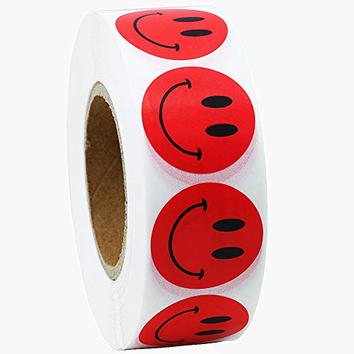 Hybsk Red Smiley Face Happy Stickers 1 inch Round Circle Teacher Labels 1,000 Total Per Roll (Red)