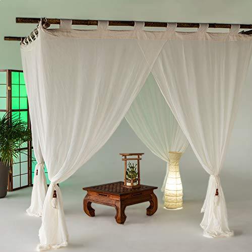 Bali4you Bali Baldachin Classic Creme 200x200 Moskitonetz 100% Cotton inkl. 4 Quasten Betthimmel