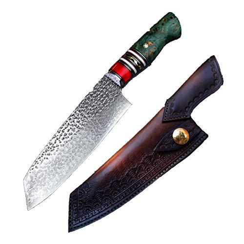 Chef cuchillos Hecho a mano Santoku CUCHILLO 7IN Damasco Steel Blade Estabilizado Madera Tanto...