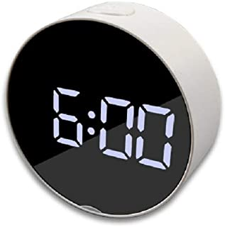 Cotchear LED Digital Mirror Alarm Clock Mirror LED Luminous Alarm Clocks Desk Table Office Home Decor Snooze Clocks Thermometer Time Display (Circular)