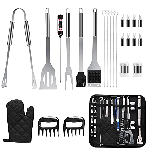 SEATANK Barbecue Grilling Accessories 25pcs with Thermometer BBQ Tool Sets Stainless Steel Accessories with Carrying Bag Indoor Outdoor Cooking and Camping, Birthday Gifts for Men and Women