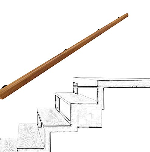 Handrail Natural Wooden Stair Rail Staircase Wall Kit for Stairs, Long Floors, Balconies or Gardens