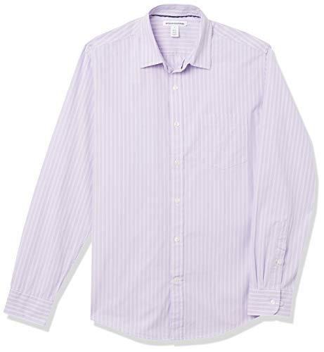 Amazon Essentials Men's Regular-Fit Long-Sleeve Stripe Casual Poplin Shirt, Lavender/White Stripe, Large