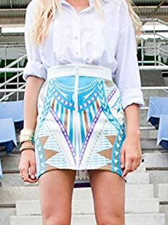 PREMONITION - Print Mini Skirt (SP12-1001 - Lime Size 8, Turquoise Size 6)