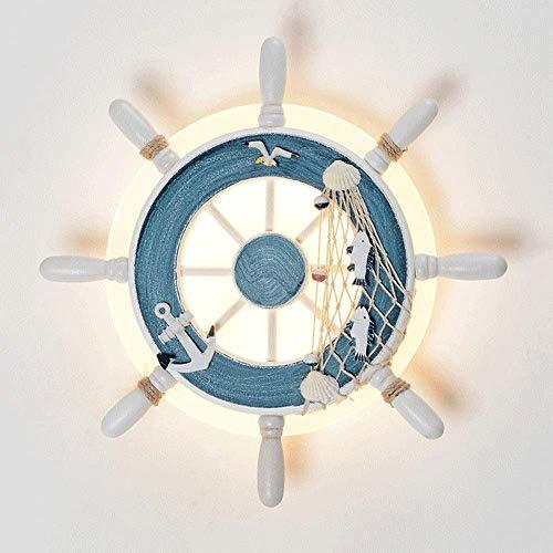 XXLYY Antikes Holzruder Mattierte Wandleuchte Lampe Mediterranes Restaurant Scheune Wandleuchte Treppe Gang Wandscheinwerfer Schlafzimmer Nachttischleuchte