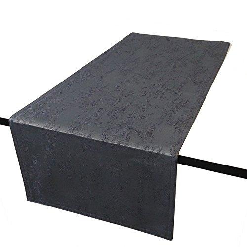 DecoHomeTextil Jacquard Tischdecke Granit Tischläufer Eckig Grau 40 x 140 cm Meliert mit Lotus Effekt Größe & Farbe wählbar