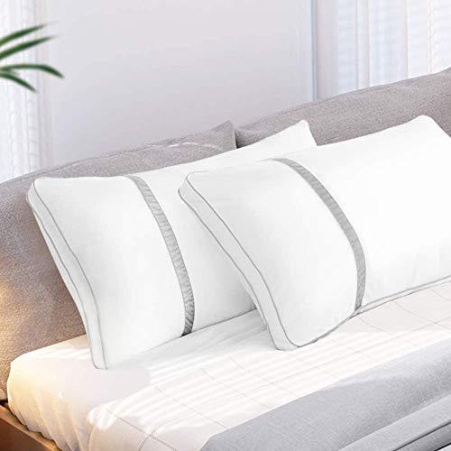 BedStory Almohadas Fibra 50×75 con Relleno 3D Fibra Mantiene la Forma Almohadas Antiácaros para de Cama Almohadas para Hoteles【Nueva Versión】 Pack de 2