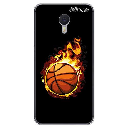 dakanna Funda Compatible con [Meizu M3 Note] de Silicona Flexible, Dibujo Diseño [Balón de Baloncesto en Llamas], Color [Borde Transparente] Carcasa Case Cover de Gel TPU para Smartphone