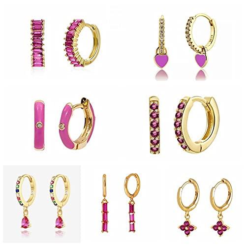 MALAT Pendientes de aro de Plata 925 para Mujer Trend Huggie Earring Pink Purple Zircon Earring-Coral