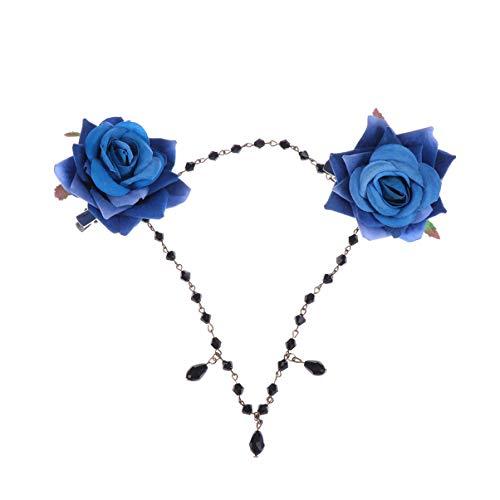 Lurrose Pince à cheveux gothique vintage Lolita avec double rose et chaîne de fleurs - Accessoire de décoration pour Halloween - Bleu