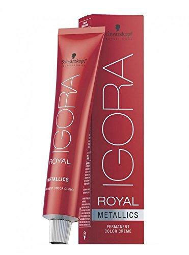 Schwarzkopf Igora Royal Metallics 7–17 Blond Moyen cendré Cuivré 60 ML Professional Couleur des cheveux by Noir Tête