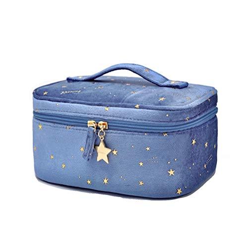 Bolsa de cosméticos portátil de viaje con apliques bordados de terciopelo para mujeres y niñas