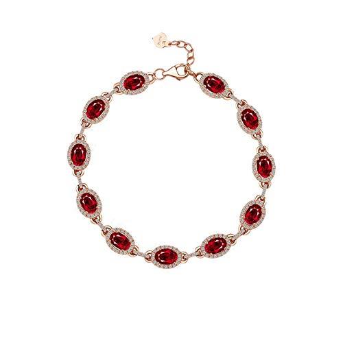 Bishilin Pulseras de Boda Oro Rosa 750 Clásico Pulseras de Encanto Rojo Rubí Diamante Pulseras de Mujer Ajuste Cómodo Rund Circunferencia Joyería para Mujer Regalos para Navidad Aniversario