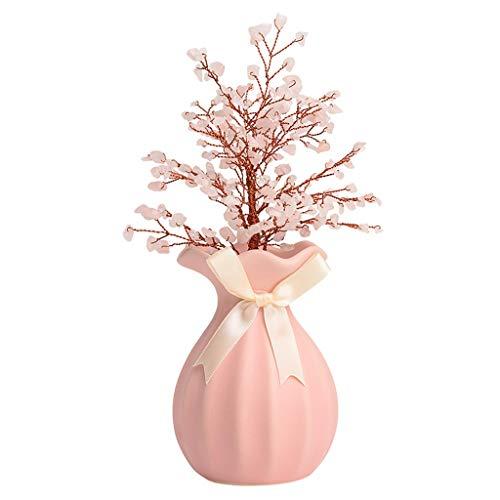 Árbol de cristal Regalo de color rosa árbol decoración de cristal de la sala dormitorio de noche de la nueva boda del árbol del dinero Bonsai estilo de decoración for la abundancia y la suerte Árbol b