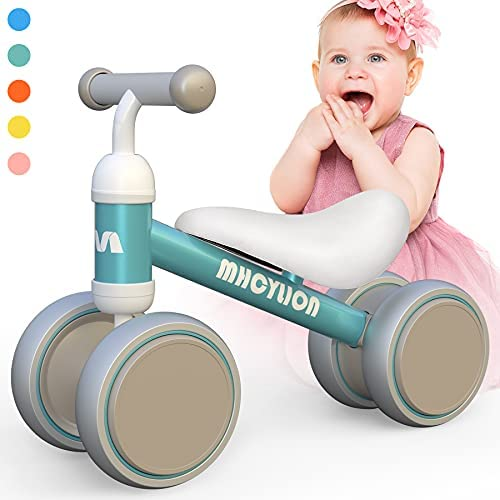 Baby Balance Bikes Toys for 1 Year Old Boys Girls 10-24 Months Cute Toddler First Bicycle Infant Walker Children No Pedal 4 Wheels 1st Birthday Gifts