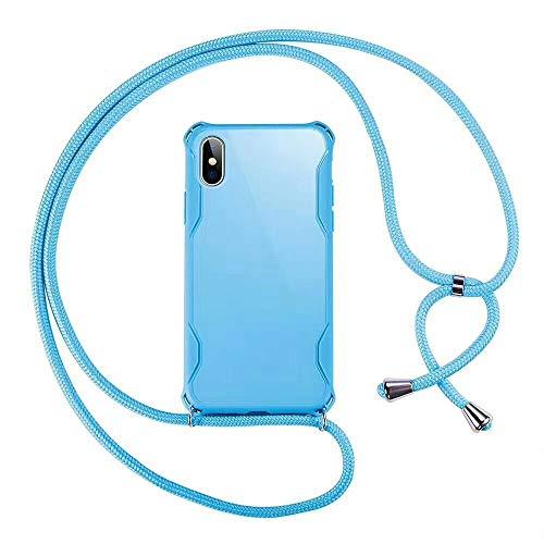 SevenPanda für iPhone 6S Hülle mit Lanyard, Crossbody Hülle Weicher TPU Handy Cover Halter mit Vier Ecken und Umhängeschnur Lanyard Strap (Blau)