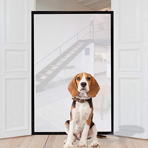 Cancello magico per cani, cancello di sicurezza portatile, pieghevole, in rete, 150 cm x 110 cm, adatto alla maggior parte delle porte interne ed esterne, protezione sicura per cani, gatti e neonati