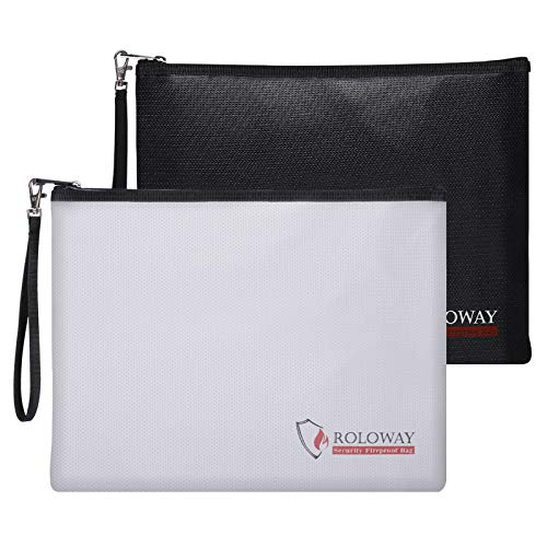 Fireproof Document Bag (13.4 x 9.8 inches), Fireproof Money Bag for Cash, A4 Documents with Zipper & Strap (2-Pack)