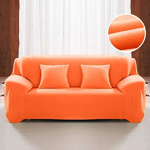 Funda de sofá Gruesa de Felpa, Funda de sofá Antideslizante Suave de Color sólido Funda de sofá de Gran Elasticidad con Todo Incluido para 1 2 3 4 plazas, Color Naranja