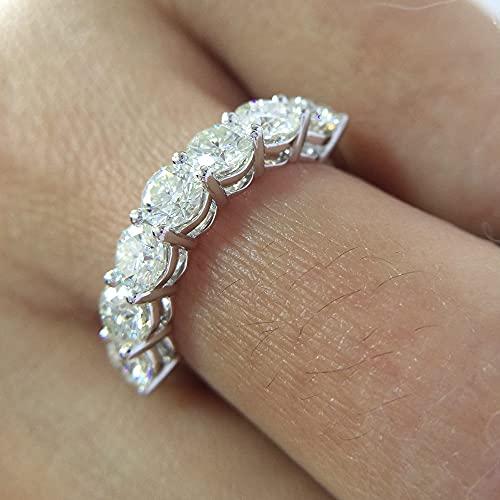 YANGYUE 2.1Ctw 4Mm DF Corte Redondo Compromiso y Boda Moissanite Lab Grown Anillo de Banda de Diamante sólido 14K 585 Oro Blanco para Mujeres