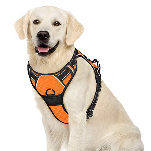 IPETSZOO No Pull Dog Harness for Large Dogs with Handle Adjustable Outdoor Pet Vest 3M Reflective Oxford Material Vest for Dogs Easy Control for Small Medium Large Dogs(Orange,L)