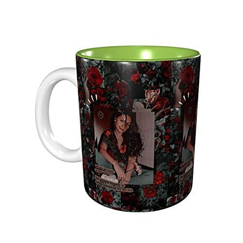 DJNGN Tazas de novedad Ales-Sia Cara, prácticas tazas/tazas de café, 11 onzas de interesantes tazas de café verde