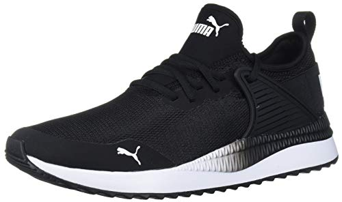 PUMA Pacer Next Cage Sneaker, Black White, 12 M US