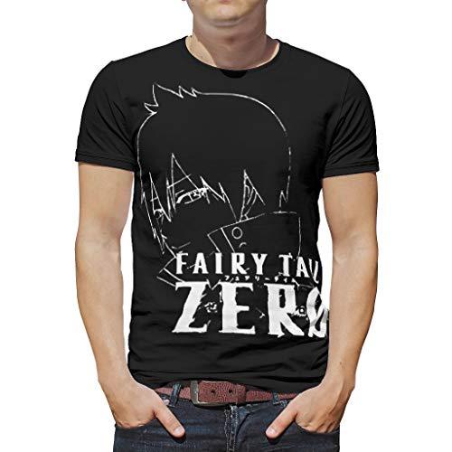 Slim-Fit Herren T-Shirt Anime Fee Schwanz Null Ordner Icon Zeref Druck Kurzarm Baumwolle Erwachsene Grafische Tee Shirt Partyhemd White XL
