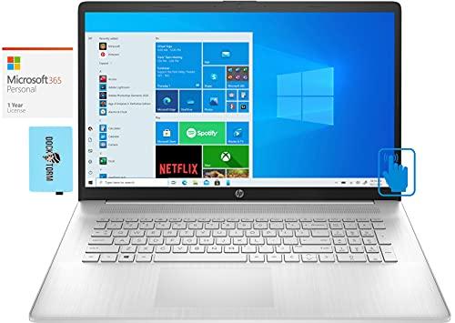"HP 17z (2021) Home & Business Laptop (AMD Ryzen 5 5500U 6-Core, 16GB RAM, 256GB PCIe SSD + 1TB HDD, AMD Radeon, 17.3"" Touch HD+ (1600x900), WiFi, Win 10 Home) with MS 365 Personal, Hub"