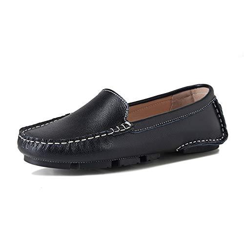 Luobaniu Classic Mocassins Leren slipper gesloten ballerina's bootschoenen halfschoenen