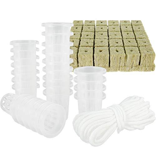 ATopoler Laine de Roche Hydroponiques Lot de 30 Cubes avec 26 Paniers Hydroponiques Plastique Pot Substrat de Culture pour Culture Hydroponique Jardinage Plantation de Semis/Fleurs