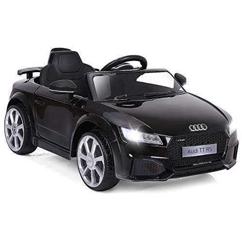 HONEY JOY Kids Ride On Car, Licensed Audi TT RS 12V Battery Powered Vehicle with Parental Remote Control, LED Lights, Horn, MP3, USB Input (Black)