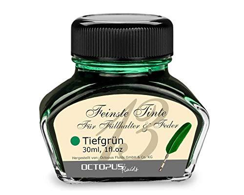 Füllhaltertinte im Tintenglas, Schreibtinte für Füllhalter, Füllertinte in Tiefgrün 30ml im Tintenfass, Kalligraphie Tinte