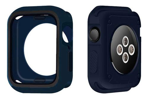 Capa Case Capinha Bumper Proteção Silicone Furos Azul Preto, Compatível com Apple Watch 38mm