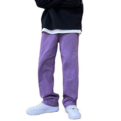 Pantaloni Moda Uomo Tinta Unita Jeans Casual Jeans Casual da Indossare Ogni Giorno (M, Viola)