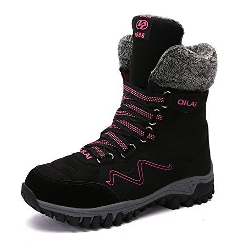 CNVIKL Winter Warme Schnürstiefel Outdoor Plat Trainer, Stiefeletten, Pelzgefütterte Schneeschuhe, Damen Kampfstiefel-A-42