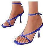 Chaussures à Lacets Respirantes à Talons Hauts pour Femmes, Sandales décontractées à Bout carré
