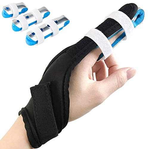 Finger Splint, Teroys Trigger Finger Support Brace for Mallet Middle Pinky Broken Fingers Straightening Arthritis 3-Size Aluminum with Nylon Sleeves