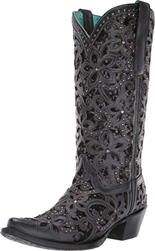 CORRAL Women's Inlay Embroidery Western Boot Snip Toe Black 10.5 M