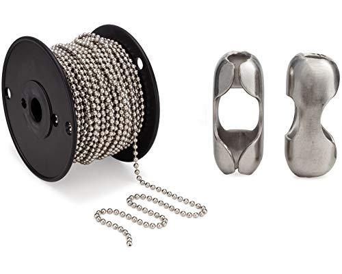 #10 Beaded Ball Chain 100 Feet Spool & Matching #10 B Couplings, Nickel Plated Steel - Bundle