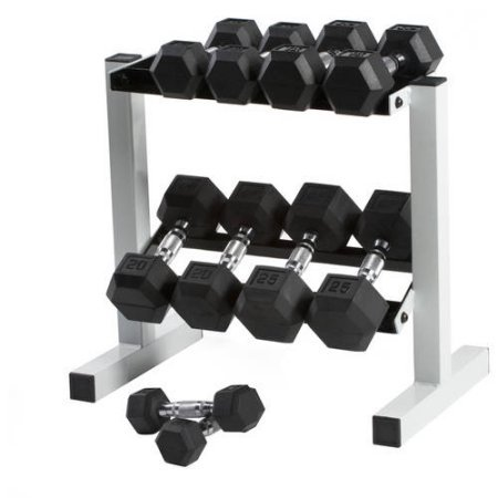 CAP 150 lb Rubber Hex Dumbbell Weight Set, 5-25 lb with Rack