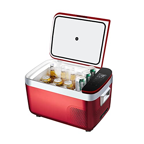 Mini Fridge 18/25L Portable Mini Cooler & Refrigerator for Drinks, Cosmetics/Makeup/Skincare, AC/DC Power, Retro Style, Black, for Bedroom, Home, Caravan, Car - Red