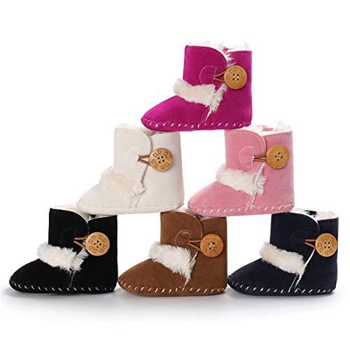 Meckior Infant Baby Girls Winter Snow Booties Warm Fleece Soft Sole Newborn Anti-Slip Shoes Prewalker Boots