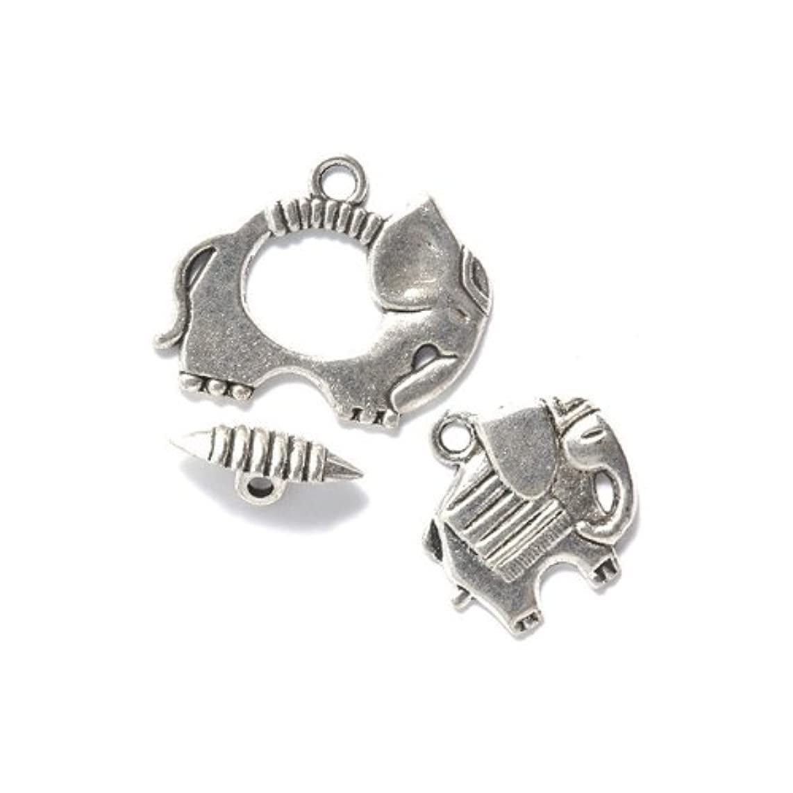 Shipwreck Beads Zinc Alloy Toggle Clasp with Charm, Elephant, 25mm, Silver, 15-Pack