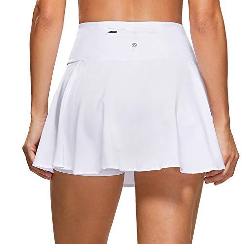 CRZ YOGA Damen Tennisrock Skirt Sportrock Sport Fitness Yoga Short Falten Weiss 44