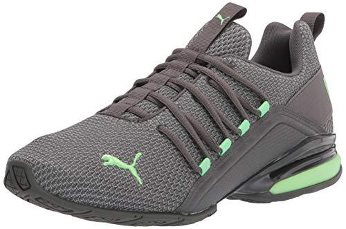 PUMA Men's Axelion Running Shoe, Castlerock-Elektro Green, 11