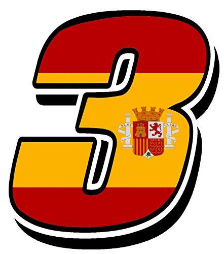 Biomar Labs® Número 3 Bandera Nacional España Spain Calavera Vinilo Adhesivo Pegatina Coche Auto Motocross Moto Sport Start Racing Tuning N 283